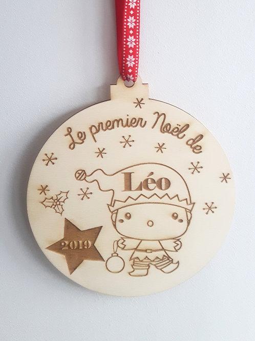 Boule de Noël en bois - Lutin