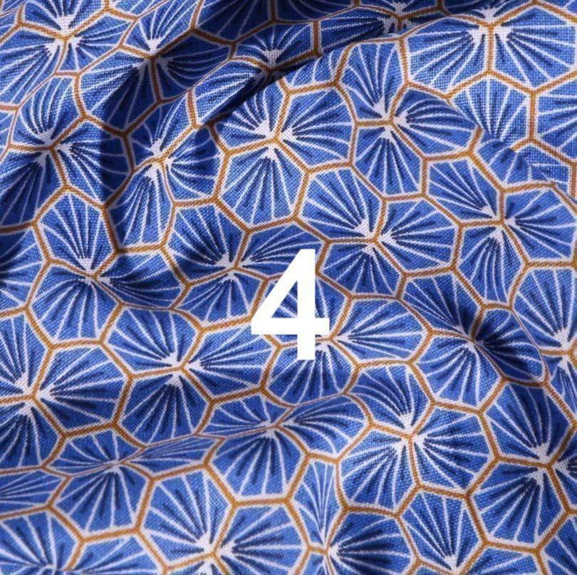 Tissu géométrique bleu 4
