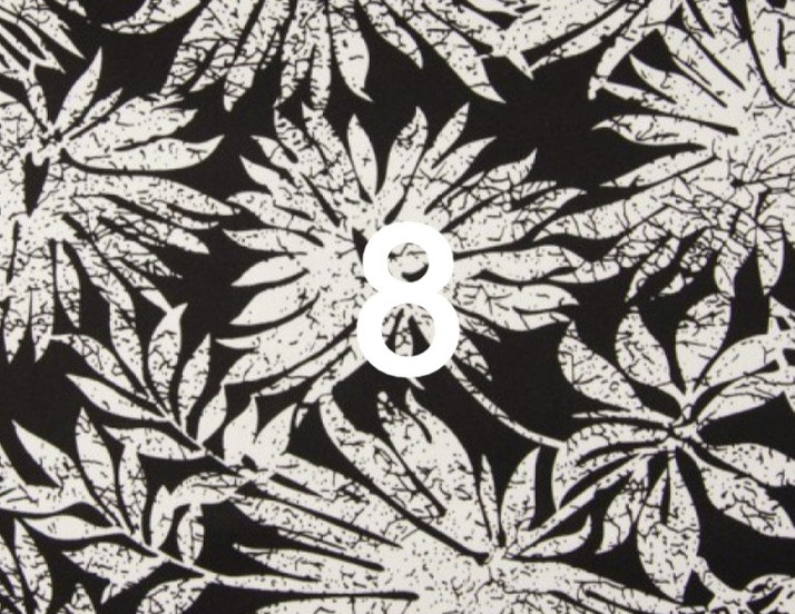 Tissu feuillage noir et blanc 8