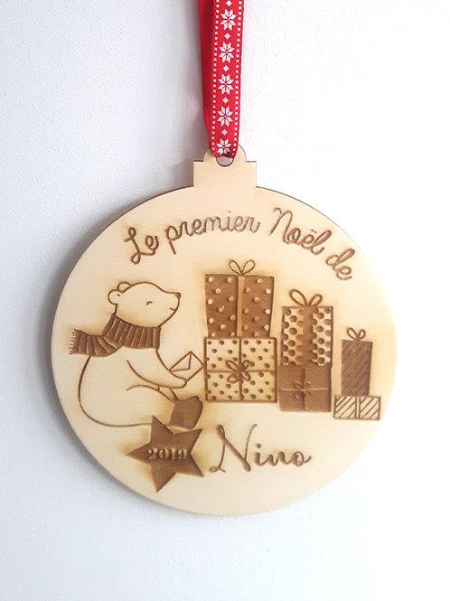 Boule de Noël en bois - ours polaire