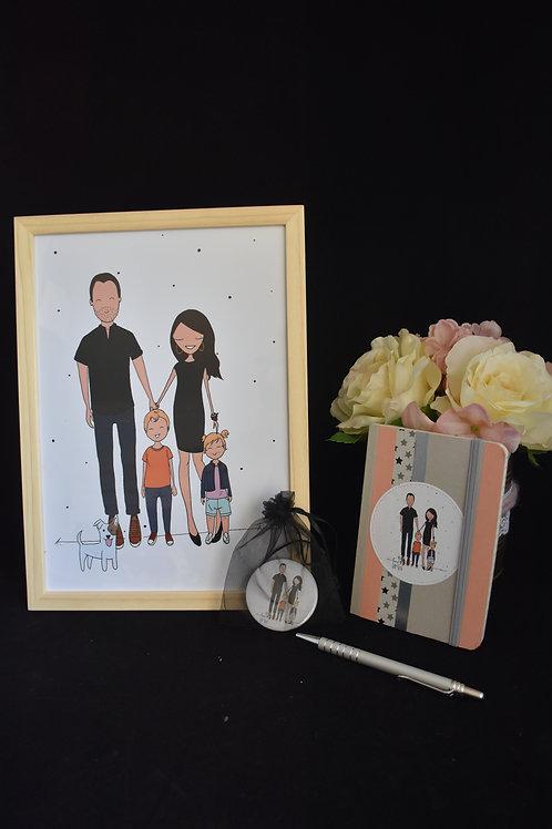 Caricature 2 personnages avec cadre et sac