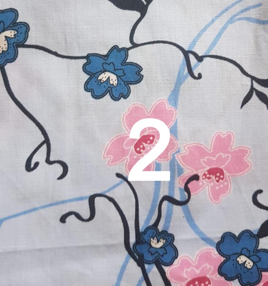 Tissu fleuri bleu 2