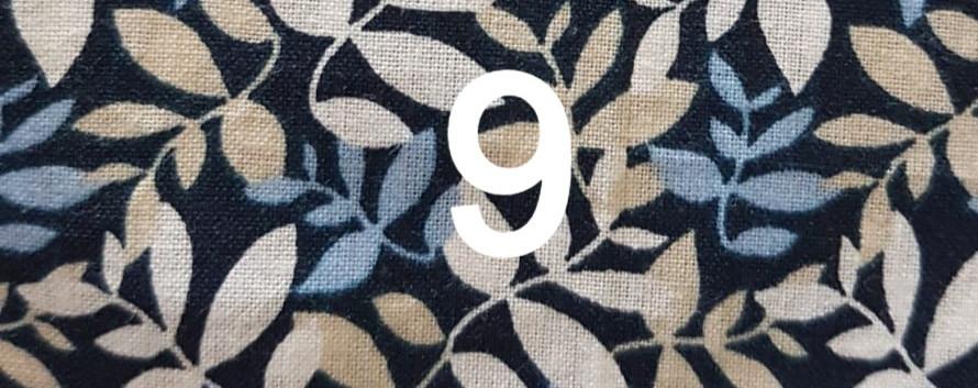 9. Tissu feuillage bleu