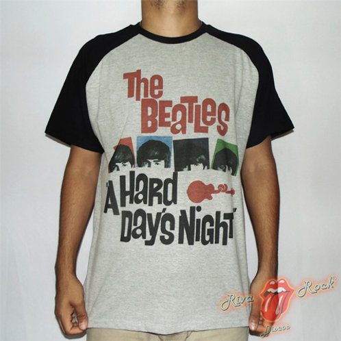 Camiseta The Beatles - A Hard Day's Night - Raglan -  Bomber Classics