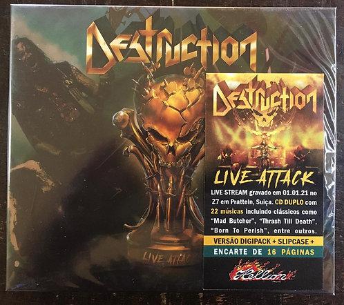 CD Destruction - Live Attack - Duplo - Digipack - Slipcase - Lacrado
