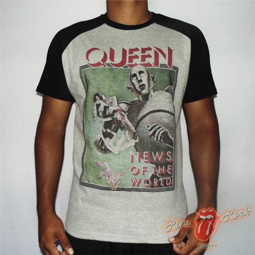 Camiseta Queen - News Of The World - Raglan - Bomber Classics
