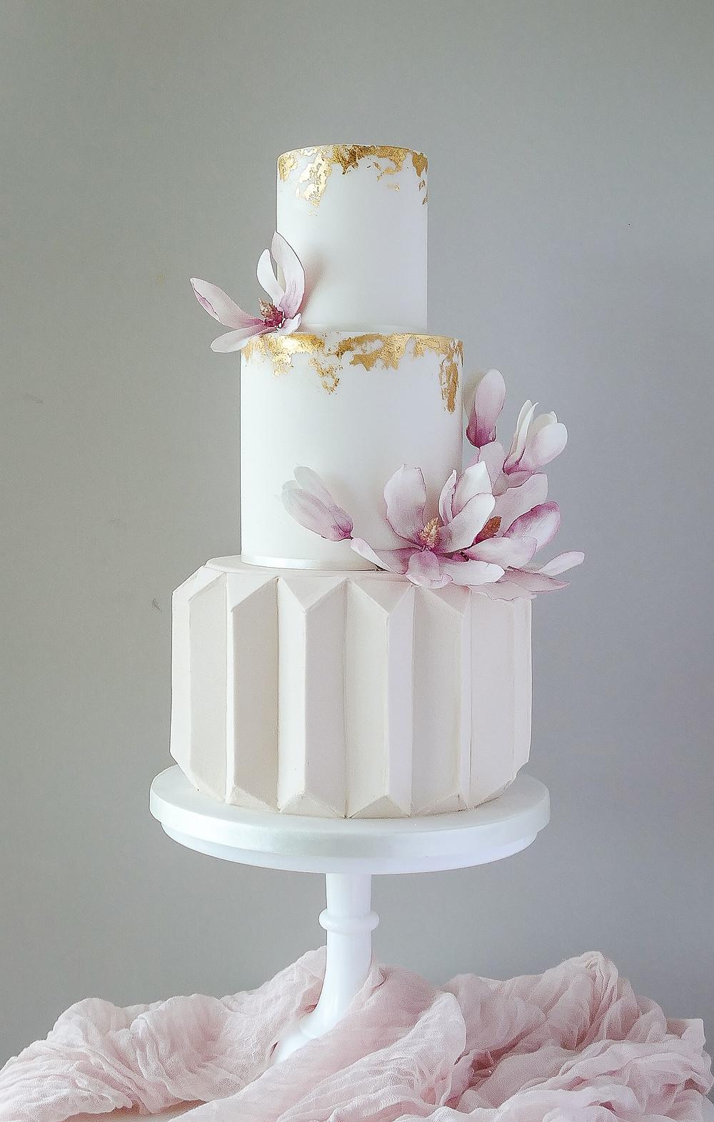 Modern pink geomtric wedding cake