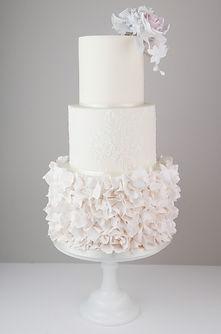 Modern ruffle weddin cake Cumbria