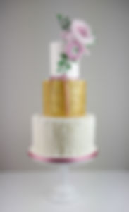 Gold and Pink wedding cake Cumbria