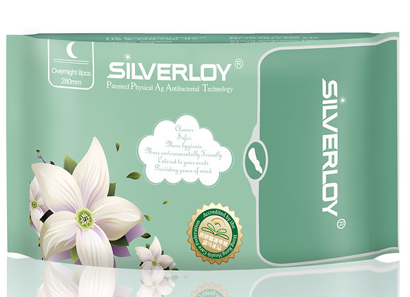 Silverloy Physical Antibacterial Sanitary Pads- Overnight (8pcs)