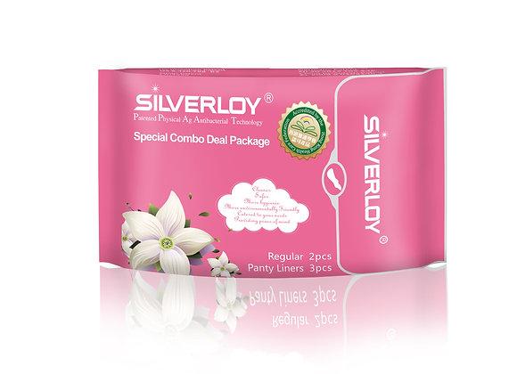 Silverloy Physical Antibacterial Sanitary pads -Combo pack (2pcs+liners 3 pcs)