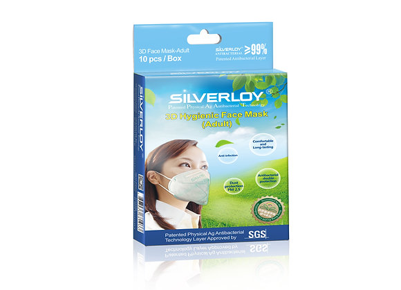 Silverloy 3D Hygienic Face Mask- Adult (10pcs)