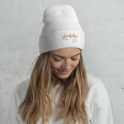 Cuffed Beanie Gold Embroidered LOGO