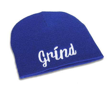 Blue w/ White Grind Logo Beanie