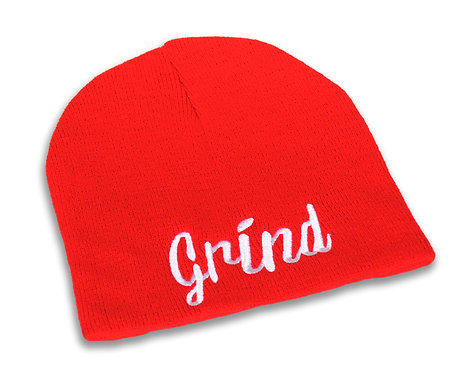 Red w/ White Grind Logo Beanie
