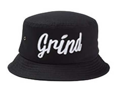 Black Bucket Hat w/ White Grind Embroidered Logo