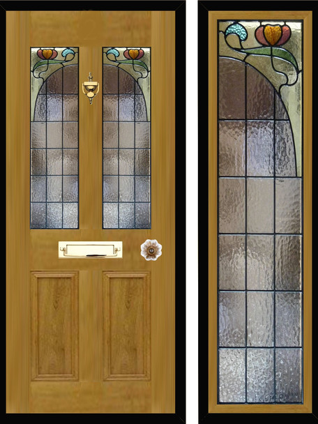 Stained glass door panels 024