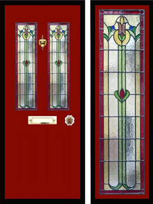 Stained glass door panels 043