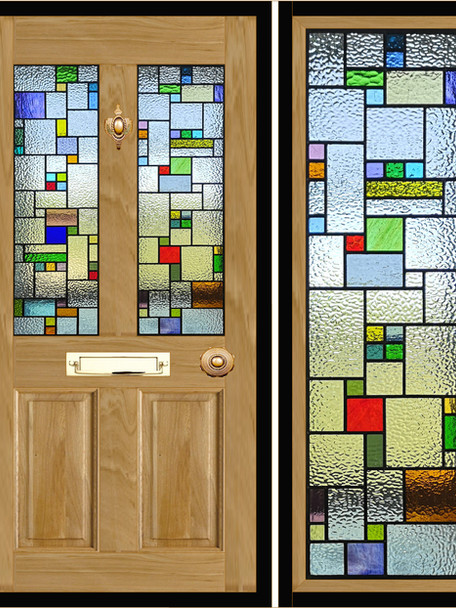 Stained glass door panels 025