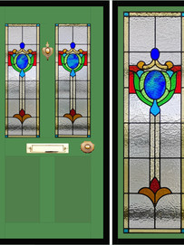 Stained glass door panels 008