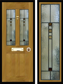 Stained glass door panels 026