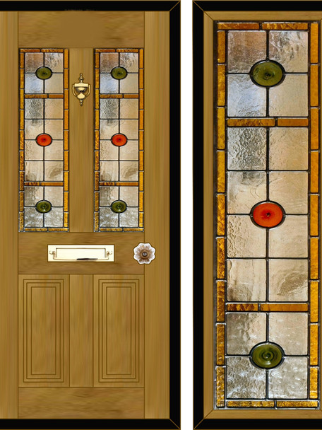 Stained glass door panels 022