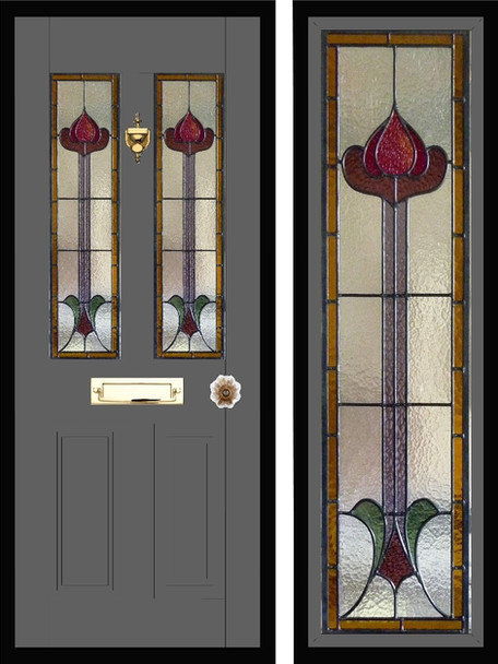 Stained glass door panels 027