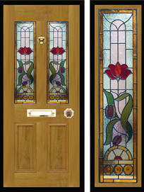 Stained glass door panels 001