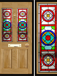 Stained glass door panels 016
