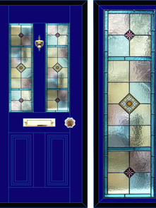 Stained glass door panels 048