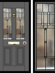 Stained glass door panels 021