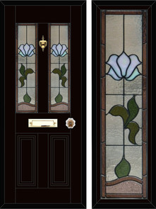 Stained glass door panels 049