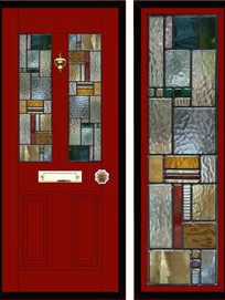 Stained glass door panels 047