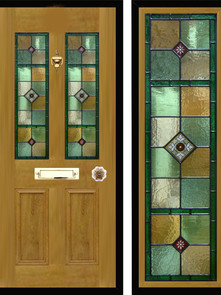 Stained glass door panels 017