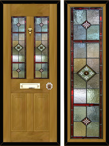 Stained glass door panels 010