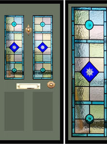 Stained glass door panels 014