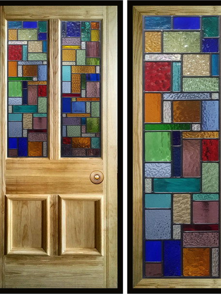 Stained glass door panels 018