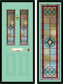 Stained glass door panels 012