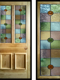Stained glass door panels 028