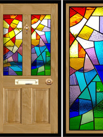Stained glass door panels 013