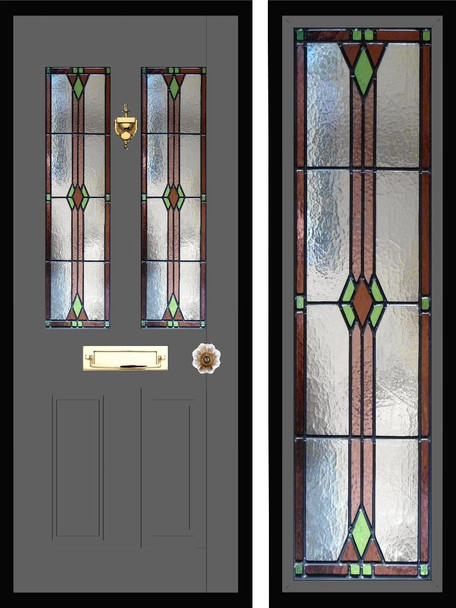 Stained glass door panels 042
