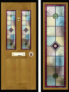 Stained glass door panels 032