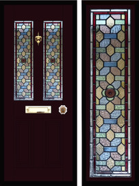 Stained glass door panels 020