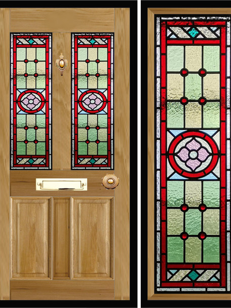 Stained glass door panels 005