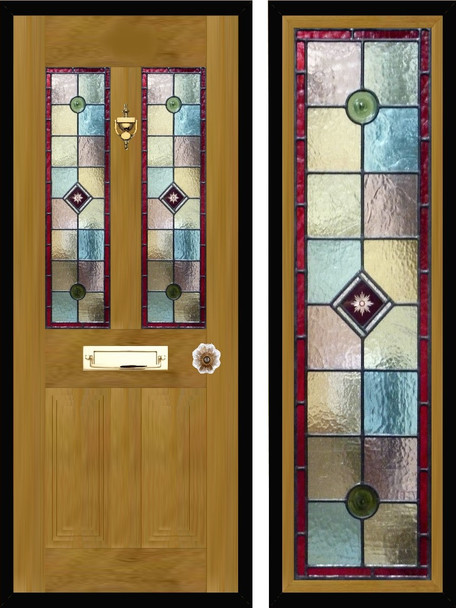 Stained glass door panels 036