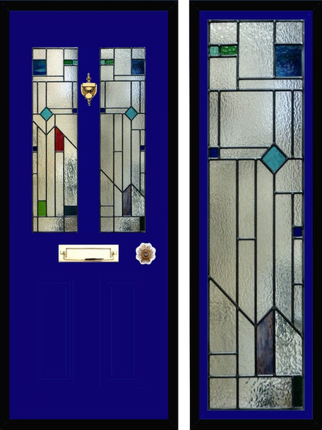Stained glass door panels 038