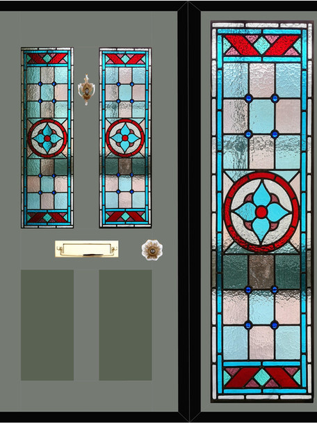 Stained glass door panels 019