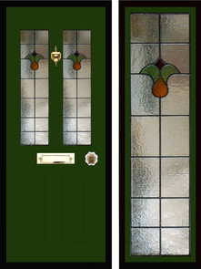 Stained glass door panels 046
