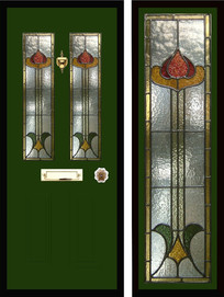 Stained glass door panels 041