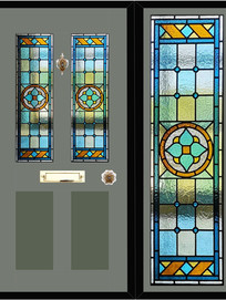 Stained glass door panels 011